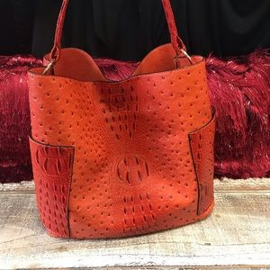 Handbags - Orange Vegan Leather Croc print Handbag